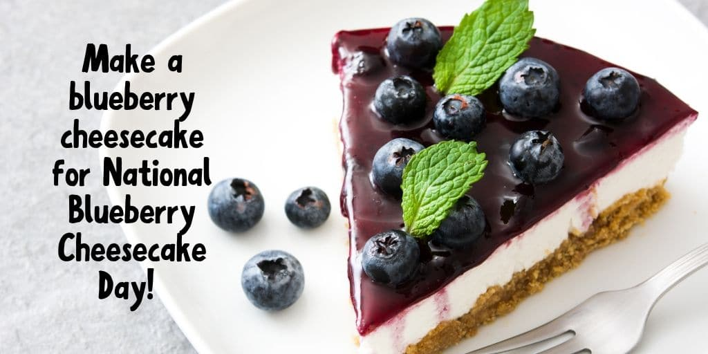 Slice of cheesecake topped with blueberry sauce on a white plate.